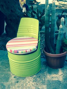 Awesome oil drum chair!   Love the colour too.