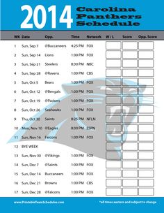 Day 21--Football Sunday!  Go Panthers!! Carolina Panthers Schedule 2014