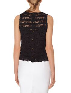 Cropped Lace Layering Top - Smooth buttons along your back have a charmingly dainty look! Layer this lace top over our Seamless Scoop Cami to complete your romantic outfit.
