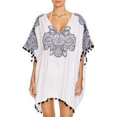 Nanette Lepore Henna Caftan Swim Cover Up ($160) ❤ liked on Polyvore featuring swimwear, cover-ups, white, kaftan cover up, white kaftan, cover up swimwear, white swimwear and nanette lepore cover up