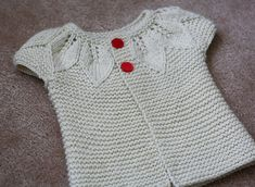 top down baby cardigan with leaf detail and vintage buttons