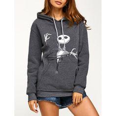 Drawstring Halloween Ghost Print Hoodie, DEEP GRAY, XL in Sweatshirts & Hoodies | DressLily.com