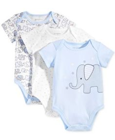 First Impressions 3-Pk. Elephant Bodysuits, Baby Boys (0-24 months), Only at Macy's