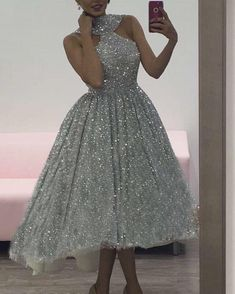 88679ac9e4a Ball Gown High Low High Low Silver Sequined Prom Dress with Pleats in 2019