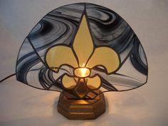 Original AGA Black and Gold Fleur de Lis by AcadianGlassArt, $72.00