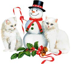 CHRISTMAS SNOWMAN AND KITTY CATS CLIP ART