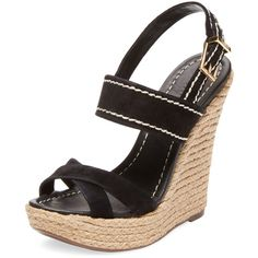 Schutz Women's Espadrille Wedge Sandal - Black, Size 10.5 ($90) ❤ liked on Polyvore featuring shoes, sandals, wedges, black, wedge sandals, ankle strap wedge sandals, black wedge sandals, platform sandals and high wedge sandals