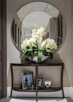 Beautiful Entry Table Decor Ideas to give some inspiration on updating your . Beautiful Entry Table Decor Ideas to give some inspiration on updating your house or adding fre Hallway Decorating, Entryway Decor, Entryway Mirror, Mirror Bedroom, Rustic Wall Mirrors, Hallway Sconces, Home Decor Mirrors, Contemporary Home Decor, Contemporary Building