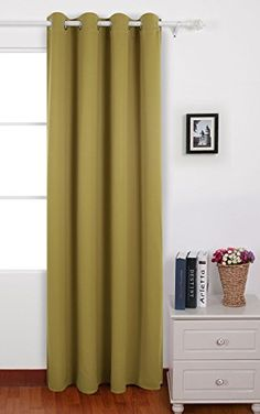 Deconovo Solid Color Rod Pocket Drapes and Curtains Thermal Insulated Blackout Curtains for Living Room 42 W x 84 L Grass Green 1 Panel Insulated Curtains, Thermal Curtains, Grommet Curtains, Drapes Curtains, White Curtains, Curtain Panels, Girls Room Curtains, Curtain Room, Blackout Panels