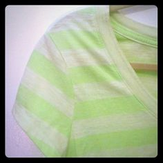 FREE W/ OTHER PURCHASE Neon Green Burnout Tee For sale by itself or *free* with any other purchase over 7$, just tag me in the comments to lmk :)  Short sleeve burnout v neck tee. Neon stripes and pale green stripes. Soft and comfy, fun for this spring into summer time :) Size XL. The stretch and structure allows this to fit a L and XL and could snugly fit a 2x. No Boundaries Tops Tees - Short Sleeve
