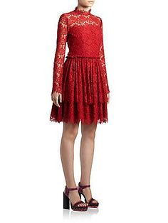 Lanvin Tiered Lace Dress - Red - Size
