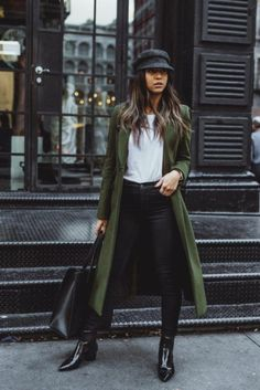 53 Best Winter Coats and What They Are Outfit Ou . 53 The best winter coats and what you should wear outfit outfit , 53 Best Winter Coats And What To Wear Them With O. Green Winter Coat, Best Winter Coats, Fall Coats, Green Coat, Green Pants, Green Jacket Outfit, Autumn Coat, Black Pants, Looks Style