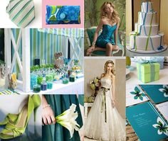 Lime Green and Teal Blue Wedding Theme