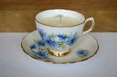 Upcycled Teacup Candle - Colclough 'Nigella' circa 1959 - Vegan Vanilla Soy Wax Candle - pinned by pin4etsy.com