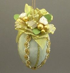 """""""Judith"""" by Towers and Turrets - Pastel Mint Green Moire Faille Fabric Easter Egg Christmas Ornament with Parchment Roses - Victorian Inspired, Handmade Towers and Turrets,http://www.amazon.com/dp/B009O2LEBE/ref=cm_sw_r_pi_dp_WG0wsb14Y7WWQW96"""