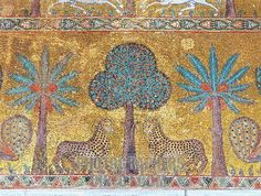 Byzantine Art : Mosaic with vegetations and leopards . Decoration of the hall of King Roger II ( Ruggero ) at Palace of the Normans ( Palazzo dei Normanni ) to Palermo . Medieval World, Medieval Art, Tile Art, Mosaic Art, Palermo, Fall Of Constantinople, Ravenna Mosaics, Art Roman, Byzantine Art