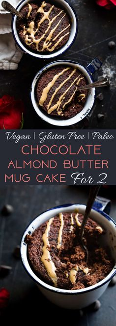 Paleo Chocolate Almond Butter Mug Cakes for Two - unsweetened cocoa powder, coconut flour, sea salt, ACV, water, baking powder, unsweetened applesauce, honey/agave (sub another sweetener), natural creamy almond butter, vanilla extract