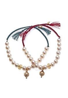 TIBETANA oro 9kt, perle, citrino, filo di cottone