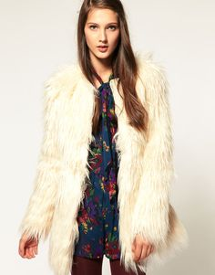furry white coat