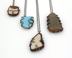 Beach Pottery Necklace And Sterling Silver