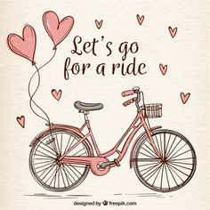 Hand drawn bike with cute hearts Free Vector Photos Hd, Buch Design, Illustrator, Valentines Day Background, Bicycle Art, Bicycle Decor, Flower Doodles, Heart Patterns, Bullet Journal Inspiration