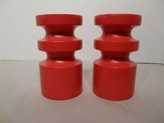 Danish Modern Red Swedish wooden Candle Holders | eBay