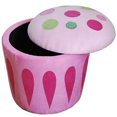 Cupcake Storage Ottoman Pink--CUTE!  I need to figure out how I can make this.