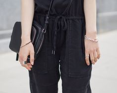 A Little Detail - A Black Jumpsuit with a White T-Shirt #myaritzia #jumpsuit #overalls #dungarees #blackoveralls #whitetshirt #monochrome #womensfashion #womensstyle #outfit #summerfashion #summerstyle