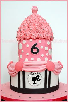 Barbie theme birthday cake