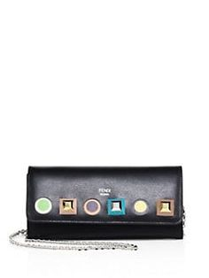 0440f386f454 Fendi - Long Rainbow Studded Leather Chain Wallet Studded Leather