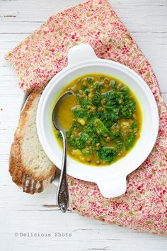 Mung Bean and Kale Soup Recipe. Delicious...made today w/shallot instead of onion and Swiss chard instead of kale because that's what I had available in my garden....must make this again and again! TM