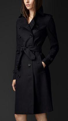 Trench coat longo em gabardine de algodão   Burberry