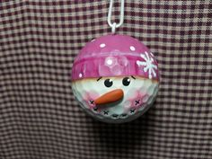 Handpainted Snowman Golf Ball Ornament by Suzyscreations2 on Etsy
