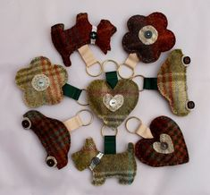 Fabric Keyring  Tweed Hand Sewn in Four Colours by DaisyBelleShop