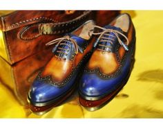 TucciPolo Handmade Wingtip Oxford Style Blue tan Luxury Shoe