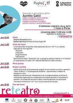 Ecco la scaletta della prima giornata di #reteatro Laboratori dal basso: il primo appuntamento con Aurelio Gatti e i Teatri di Pietra. Giovedì 4 dicembre a Bari.