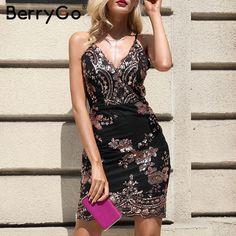 a490d8d54c4 Aliexpress.com   Buy BerryGo Sexy strap backless mini dress women V neck  sequin party