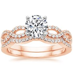 14K Rose Gold Infinity Diamond Ring Matched Set (1/3 ct. tw.) from Brilliant Earth