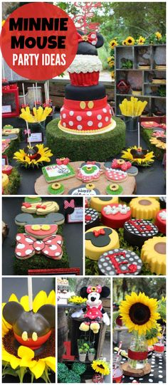 You have to see this Minnie Mouse party with sunflower decor! See more party ideas at CatchMyParty.com!