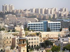 Jerusalem, Israel - Scenic View, looking northeast from the Tower of David toward the Dan Jerusalem Hotel and Hebrew University Mount Scopus campus