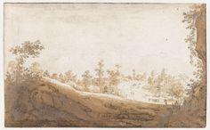 Jan de Bisschop | Heuvellandschap met karren buiten Brussel, Jan de Bisschop, 1649 |