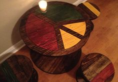 DIY dining table made from wooden spool