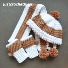 Crochet Baby Hats Crochet winter set a free crochet pattern for a small child, made in a worsted weight