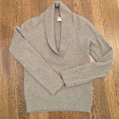 J.crew cashmere sweater 100% cashmere sweater. Shawl collar with ribbed detailing. Brown/grey color. J. Crew Sweaters Crew & Scoop Necks