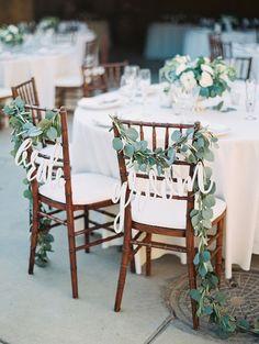 rustic sweetheart eucalyptus chairs via luna de mare / http://www.deerpearlflowers.com/greenery-eucalyptus-wedding-decor-ideas/3/