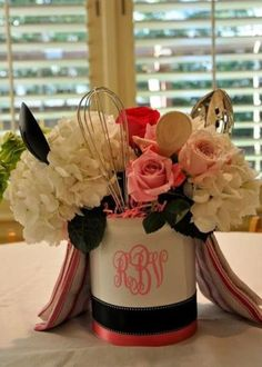 Kitchen themed decorating idea.  See more bridal shower invitation ideas and party ideas at www.one-stop-party-ideas.com