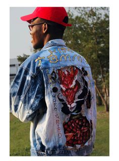 Hand painted denim title  THE RED DRAGON (by TM Wears) 4000f533299e