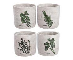 4 Cache-pots céramique, gris - Ø12 | Westwing Home & Living