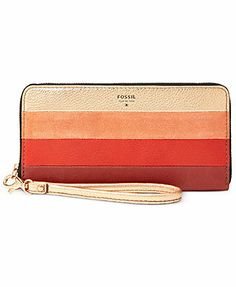 Fossil Wallet, Leather Patchwork Zip Clutch