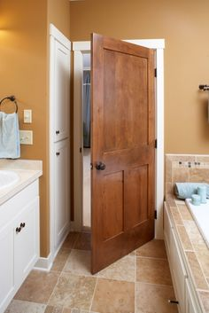 Get rid of the blah white builder grade doors.....Wooden door with white trim.